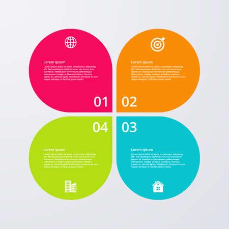 proceso: Ilustración vectorial infografía cuatro opciones.