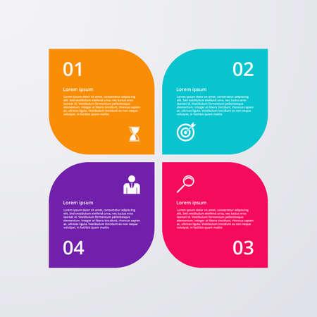 label circular: Vector illustration infographics four options.