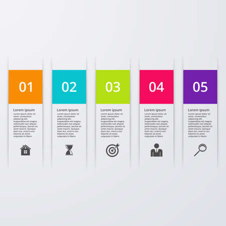 Vector illustration infographic five options.