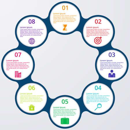 design process: Vector illustration of circles infographics.