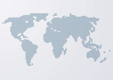 Vector illustration of a world map circles. Stock Illustratie