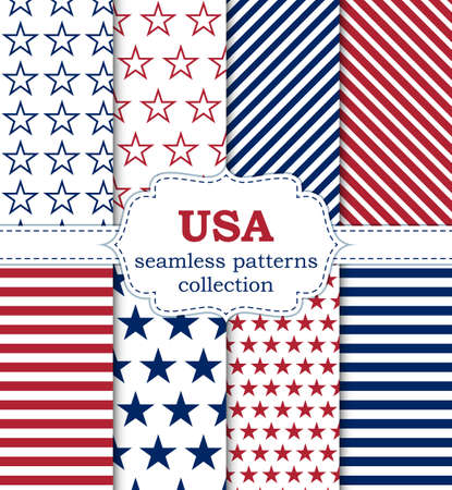 Vector illustration of a set of seamless patterns USA.
