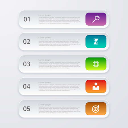 style template: Vector illustration infographics five rectangles.