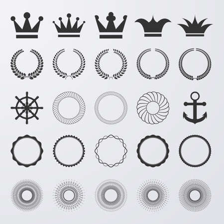 crown of light: Vector illustration of a set of elements. Crown, crowns, rays.