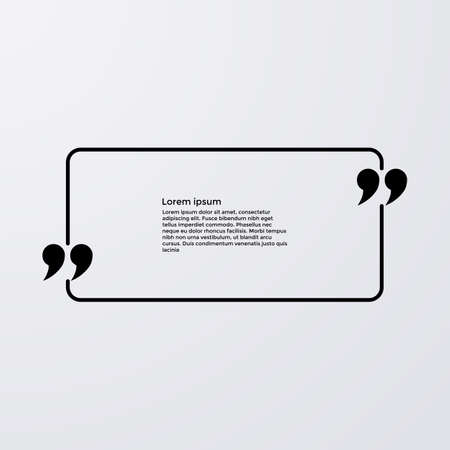 Quote of the text in the box . Vector illustration. Vettoriali