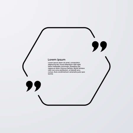 plackard: Quote of the text in a hexagon . Vector illustration.