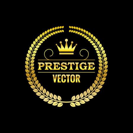 sellos: Ilustración del vector. Logotipo del oro con la corona.