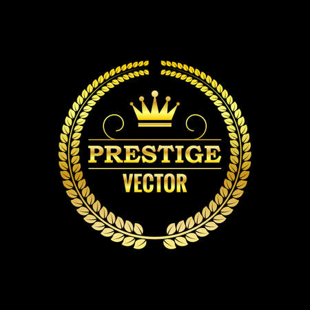 Vector illustration. Gold logo with wreath.