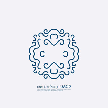cute flowers: Vector illustration of a linear design monograms.