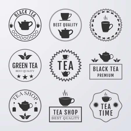 organic concept: Vector illustration set of logos on the theme of tea. Illustration