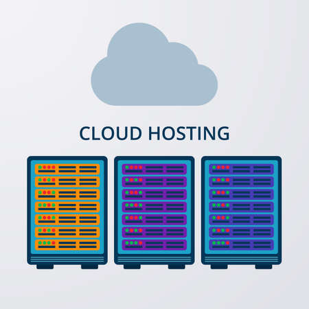 hosting: Vector illustration of a flat design of cloud hosting.