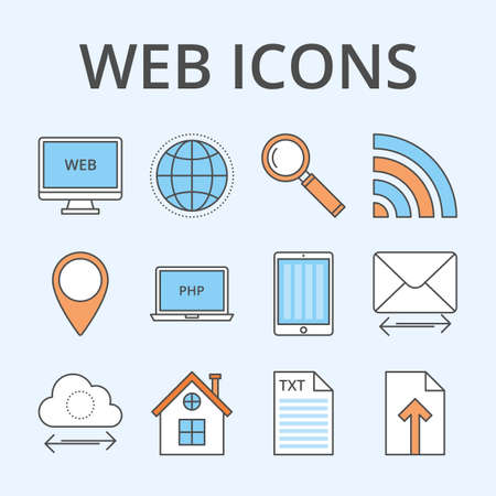 iconography: Vector illustration of a set of web icons. Illustration