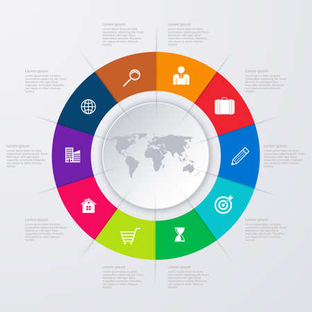 design process: Vector illustration infographics ten options.