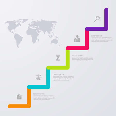 digital world: Vector illustration infographic five options with world map. Illustration
