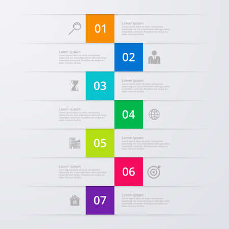 different directions: Vector illustration infographics seven options.