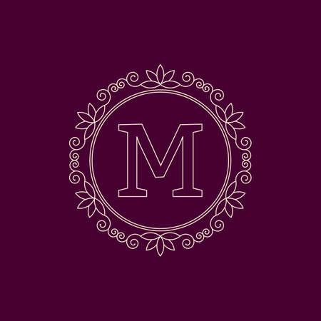 feminine floral flower: Vector illustration. Luxury Monogram logo. Illustration