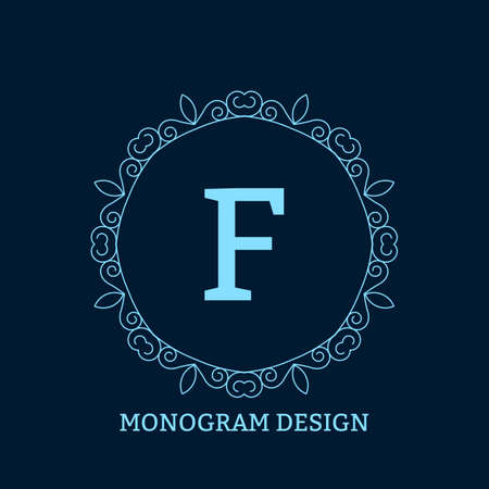 decorative lines: Vector illustration of the linear blue monogram