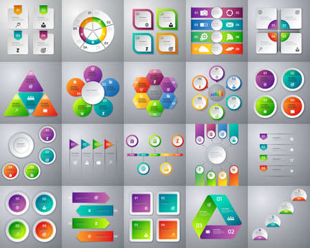 Vector illustration of a mega collection of colorful infographic. Stock Illustratie
