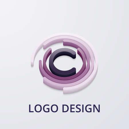 Stock Vector 3d logo letter c. Illustration