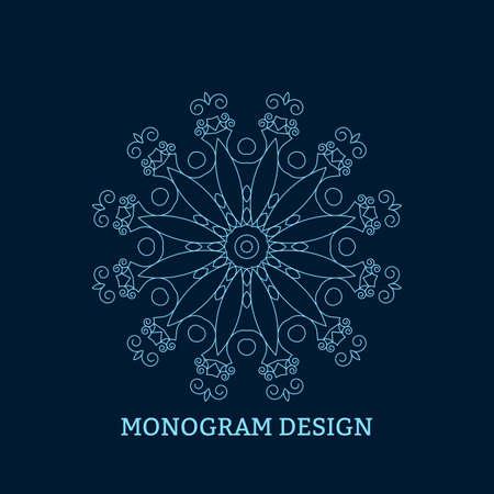 decorative letter: Vector illustration of the linear blue monogram