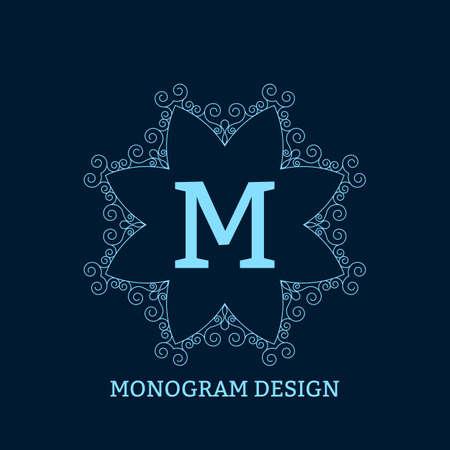 lineas decorativas: Ilustración vectorial del monograma azul lineal