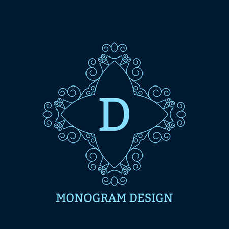 calligraphic design: Vector illustration of the linear blue monogram