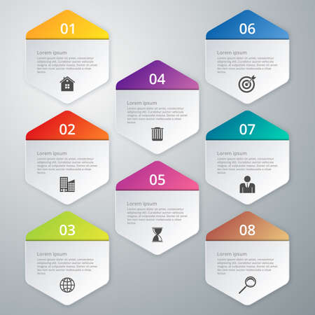 Vector illustration infographics of hexagons.