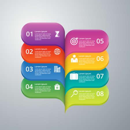elemento: Illustrazione vettoriale infografica otto opzioni.