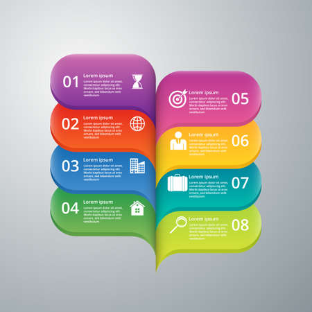 Vector illustration infographics eight options.