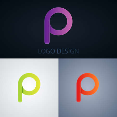 Vector illustration of abstract business logo letter p. Ilustrace