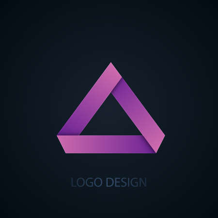 three objects: Vector illustration of abstract business logo of triangles.