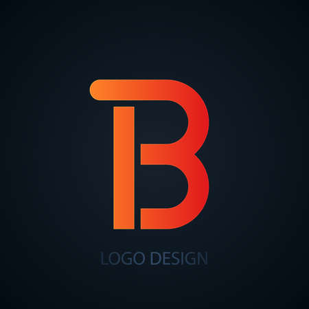 pattern corporate identity orange: Vector illustration of abstract business logo letter b.
