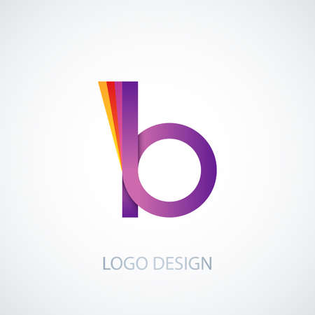 logo element: Vector illustration of colorful logo letter b.