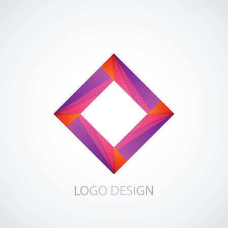 diamond shape: Vector illustration of abstract logo square. Illustration