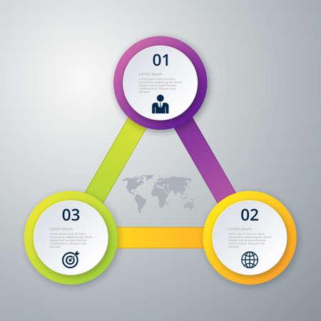 three: Vector illustration infographics three circles. Illustration