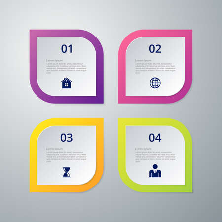 Vector illustration infographics four rounded rectangle.