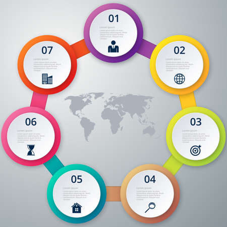 Vector illustration of a circle of seven infographics. Illustration