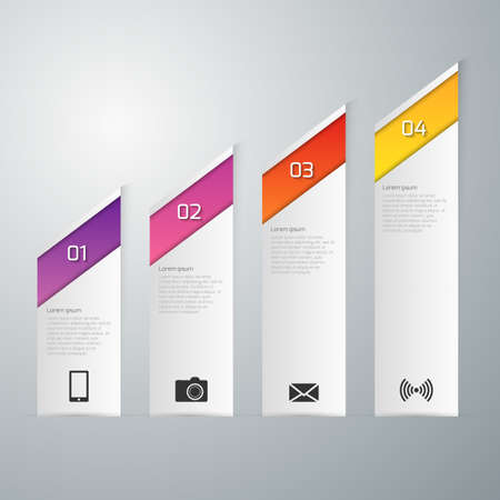 page layout: Vector illustration infographics pointy paper strips.
