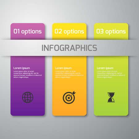 objetos cuadrados: Ilustración del vector de infografía de negocios 3 opciones. Rectángulos con esquinas redondeadas.