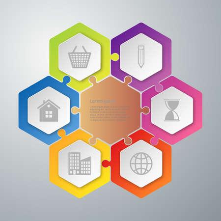 Vector illustratie infographics zeshoeken verbonden puzzel.