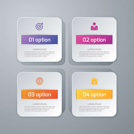 square shape: Vector illustration of four squares infographics. Illustration