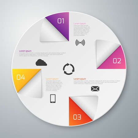 sectors: Vector illustration of a paper circle with infographics sectors. Illustration