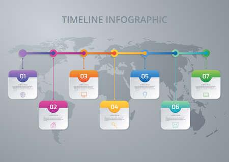 Vector illustration infographic timeline of seven options.