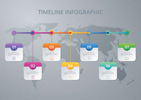 conection: Vector illustration infographic timeline of seven options.