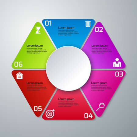 six people: Vector illustration infographics triangles, six options.