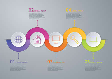 Vector illustration infographic timeline of five options. Vettoriali