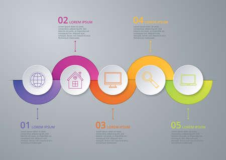 bar charts: Vector ilustración de línea de tiempo infografía de cinco opciones.