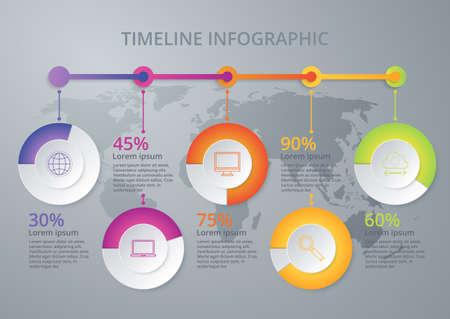 line graph: Vector illustration infographic timeline of five options. Illustration