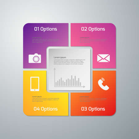 color image: Vector illustration infographics four options . Paper square with rounded corners. Illustration