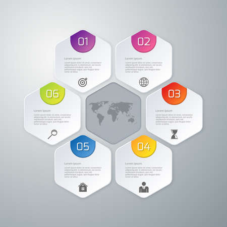 Vector illustration of paper infographics hexagons.